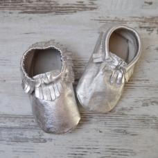 Бебешки буйки Сребърни мокасини